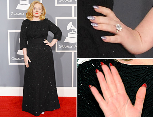 Adele had a Loub mani with a twist opting for a sparkly silver on top